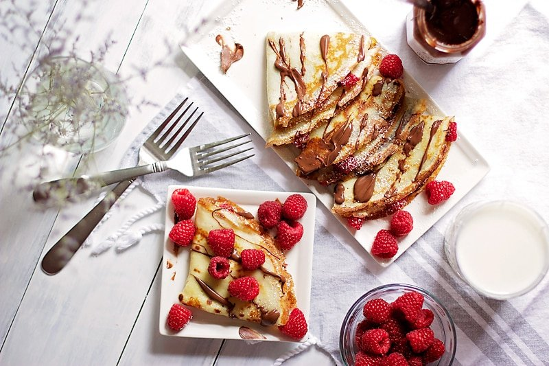 Raspberry Crepes with Nocciolata -