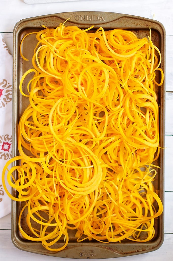 Butternut Squash Pasta- spiralized butternut squash! SO easy and SO yummy!! │ bbritnell.com