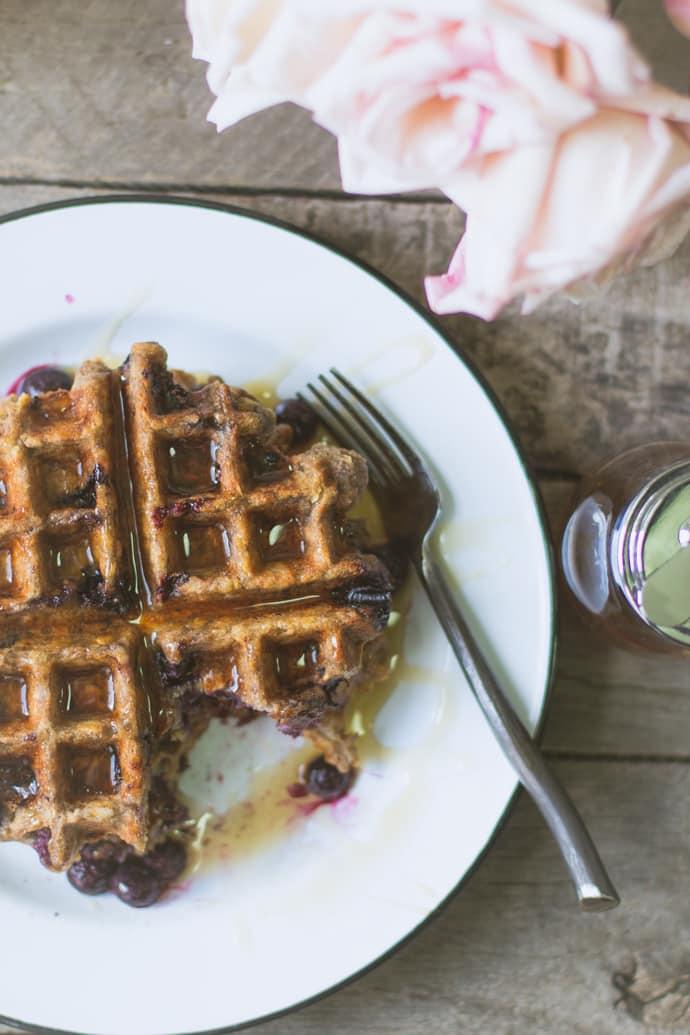 Blueberry Oatmeal Waffles-17