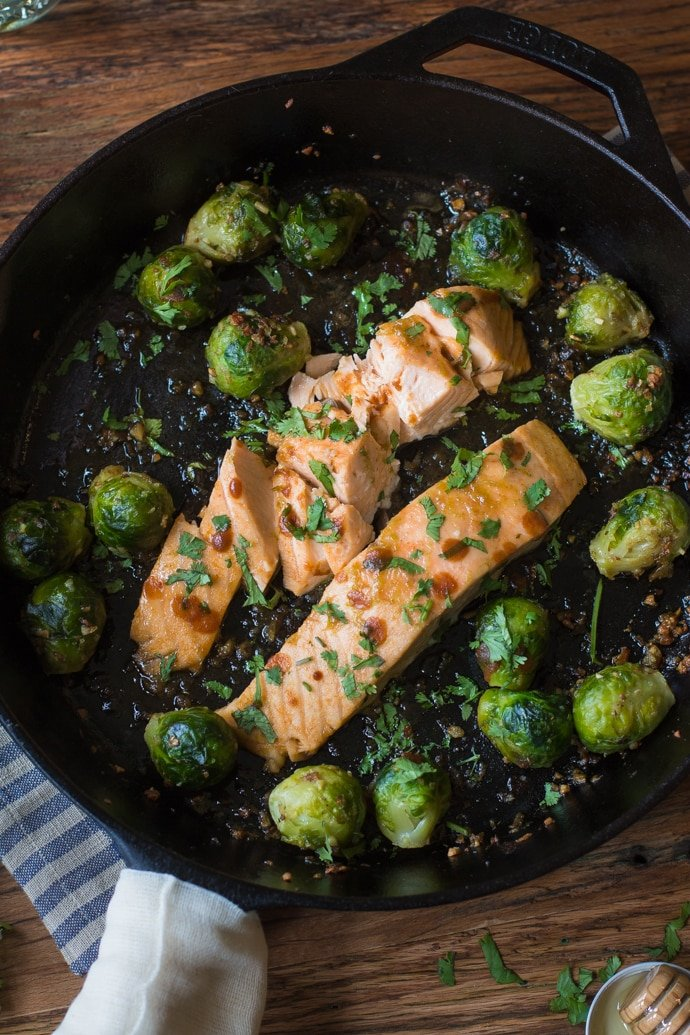 Sriracha & Lime Salmon with Garlic Roasted Brussels Sprouts from B. Britnell [Recipe Round-Up at A Little Seed Grows]