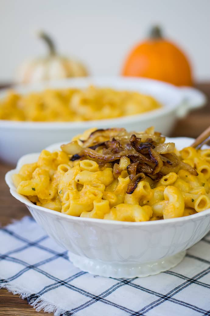Pumpkin & Goat Cheese Macaroni- this recipe is super simply and a great autumnal twist on the families favorite dish! | bbritnell.com