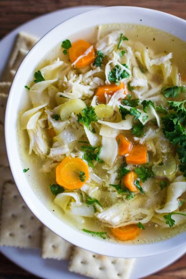 Slow Cooker Chicken Noodle Soup- this recipe is super easy to throw together and the perfect soup for colder months! | bbritnell.com