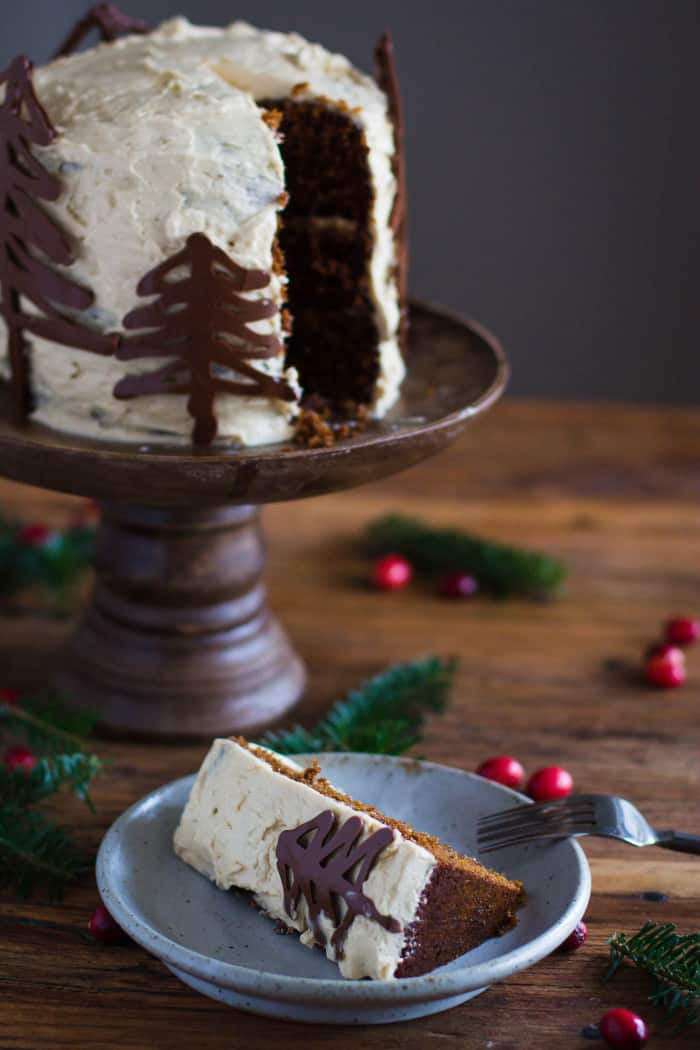 Gingerbread Cake recipe with Brown Sugar Buttercream Frosting and Chocolate Trees | bbritnell.com