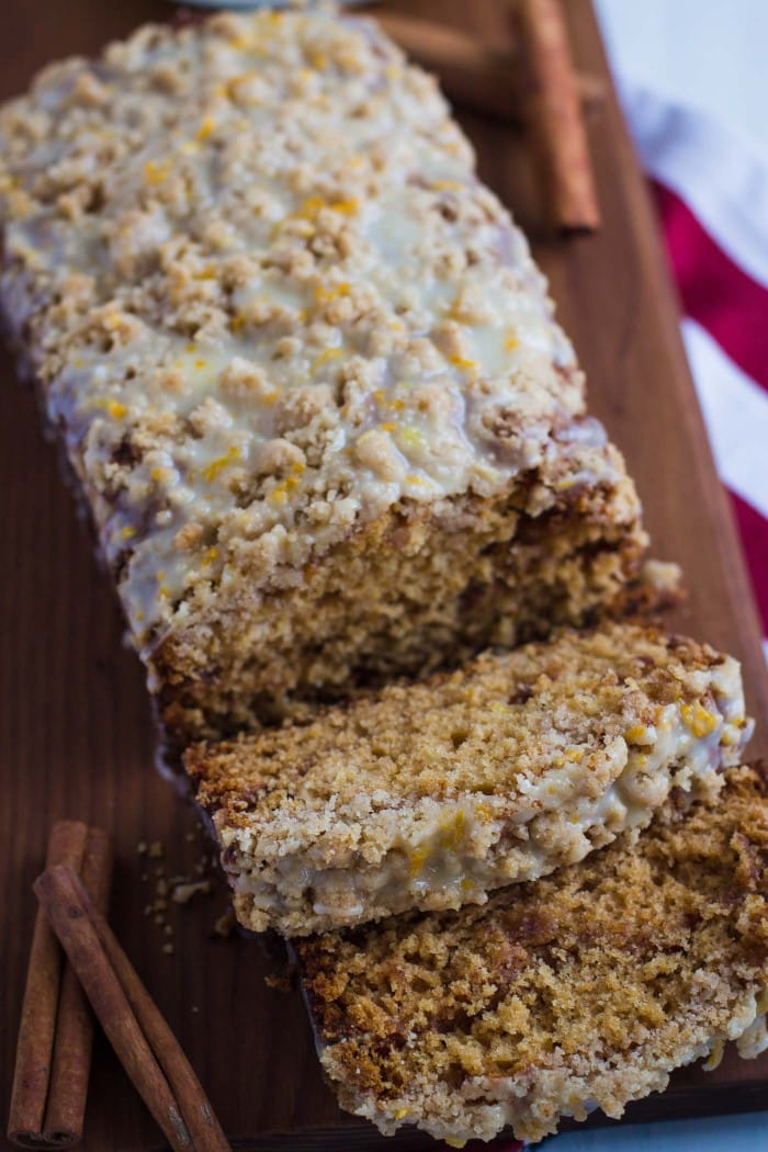 Cinnamon Amish Friendship Bread with crumble topping and orange glaze- this recipe comes together in one big bowl and is so super easy to make!