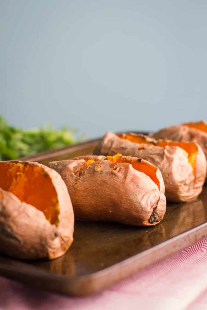 baked sweet potato on a baking tray