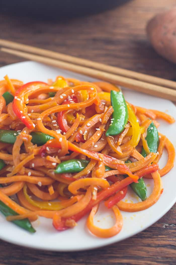 Sweet Potato Lo Mein- super easy to make, healthy, VEGAN, and SO very satisfying!   Recipe from bbritnell.com