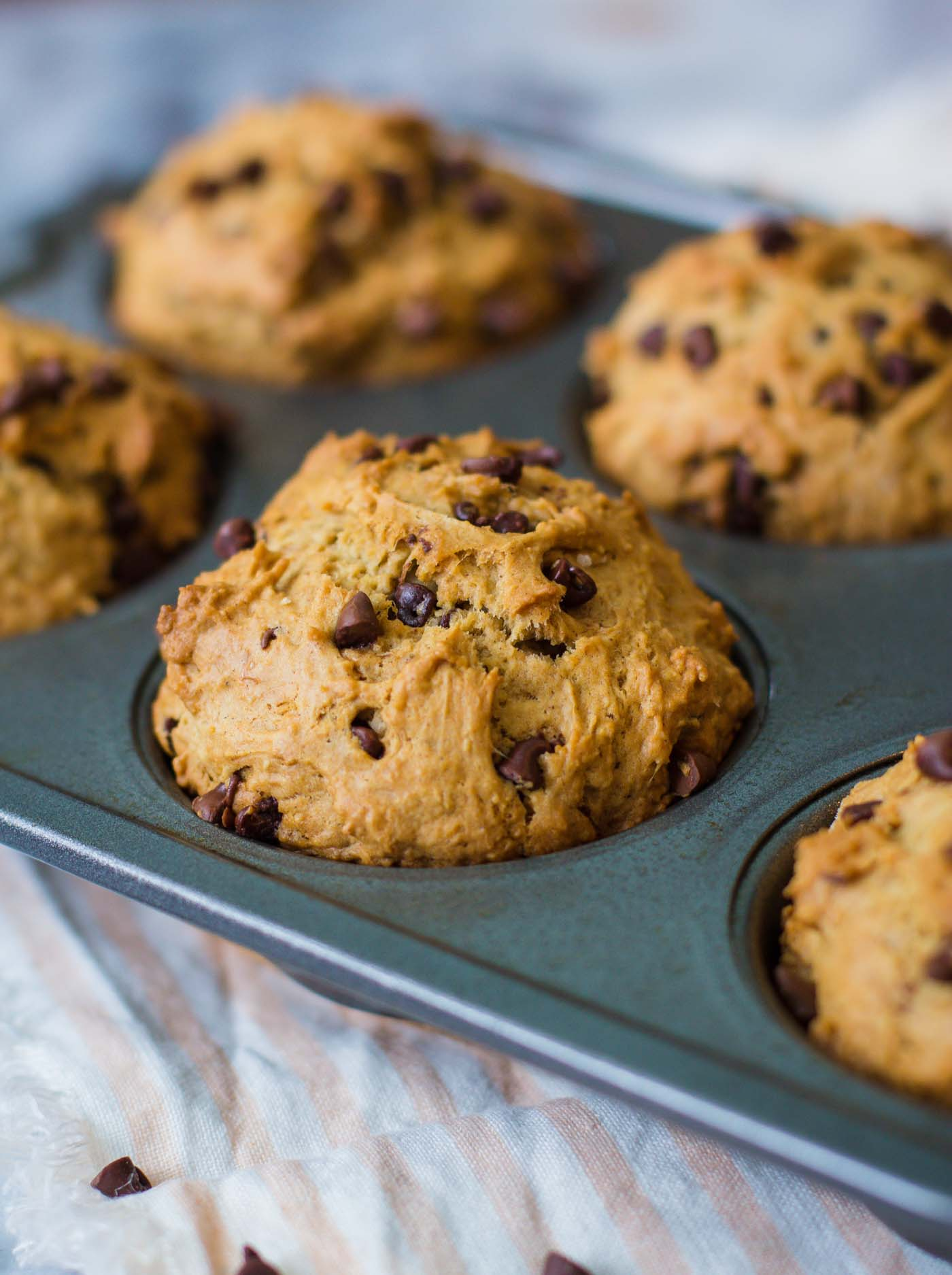 Chocolate Chip Vegan Muffins- these VEGAN muffins come together in one big bowl and taste delicious!