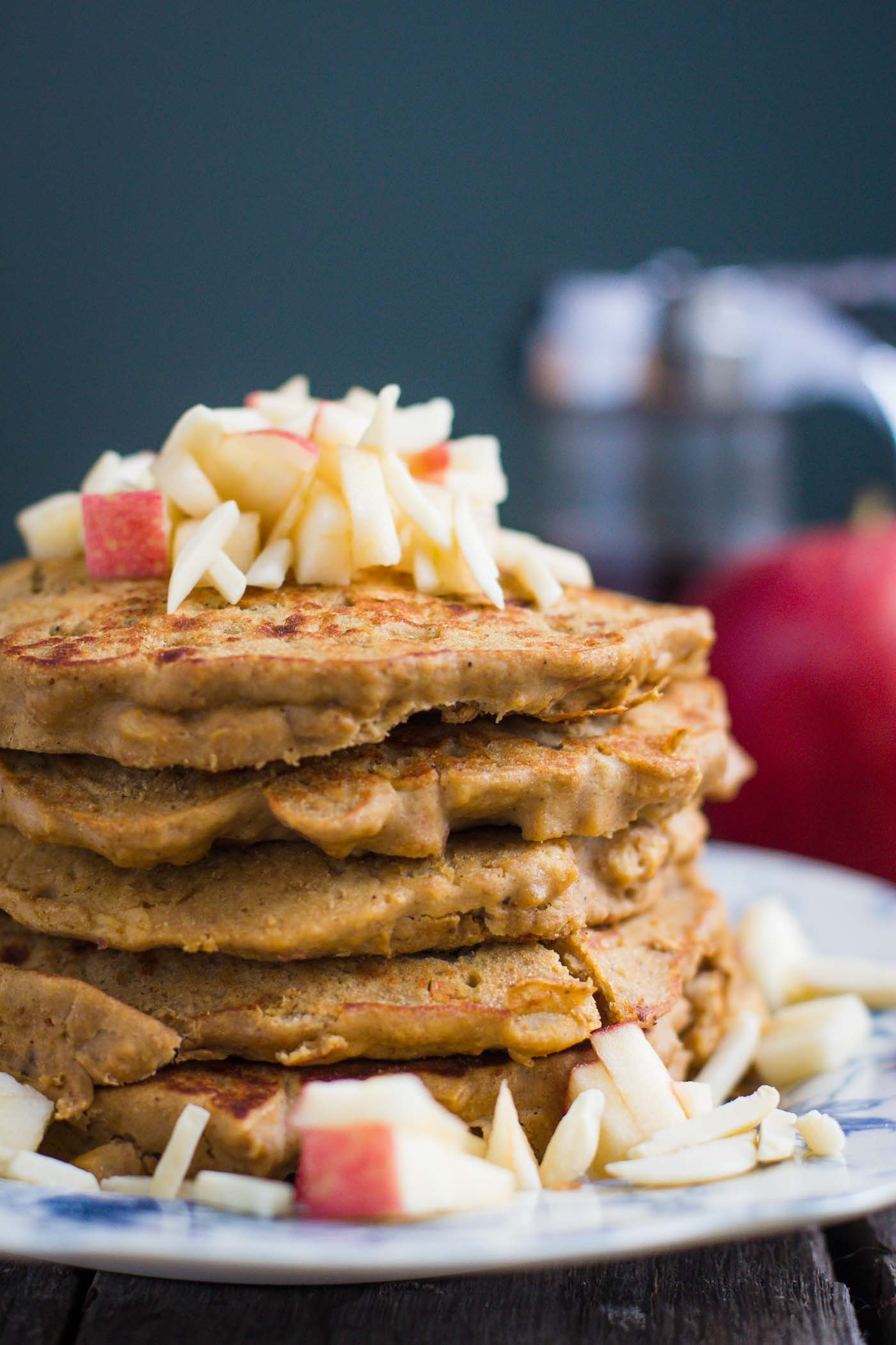 Apple Cinnamon Protein Pancakes- these are gluten-free, easy to throw together, and super yummy!