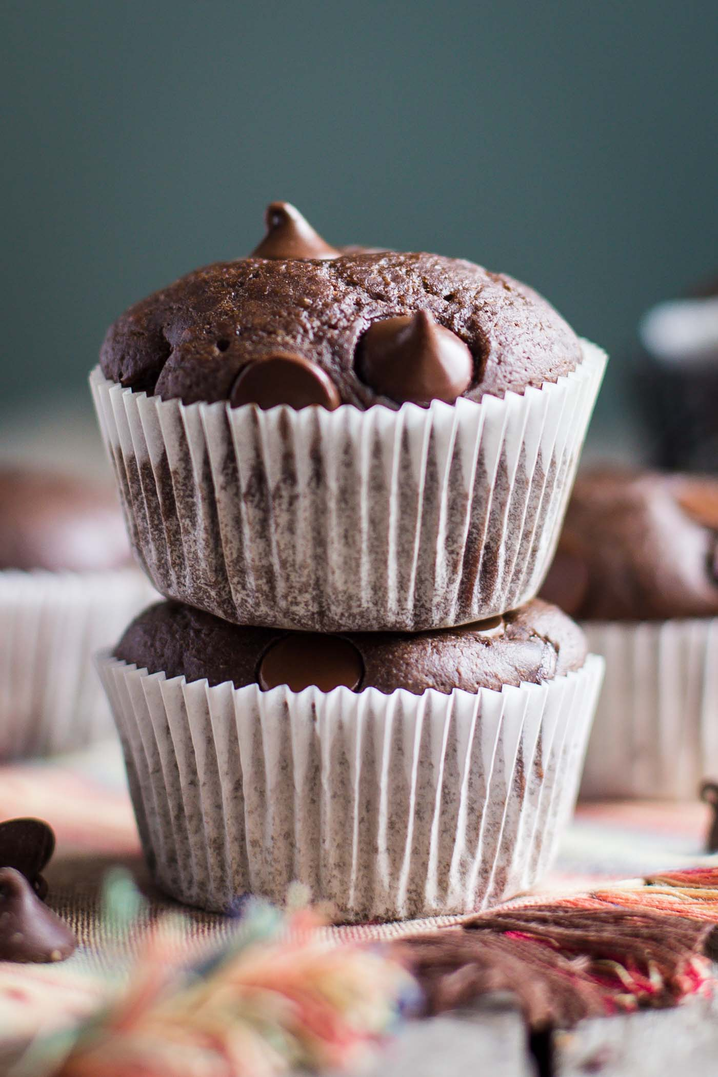 Double Chocolate VEGAN Muffins- this recipe is SO delicious and easy to bake. They taste just like normal muffins and will leave everyone satisfied! SO chocolaty and DELICIOUS!