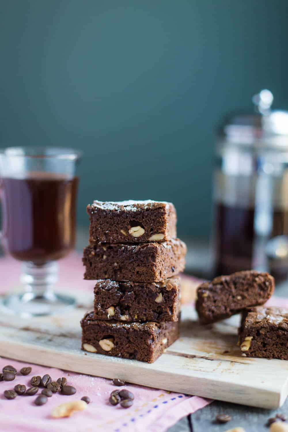 Mocha Cashew Brownies- these brownies are SUPER easy to make and a nice twist on the classic fudge brownie!