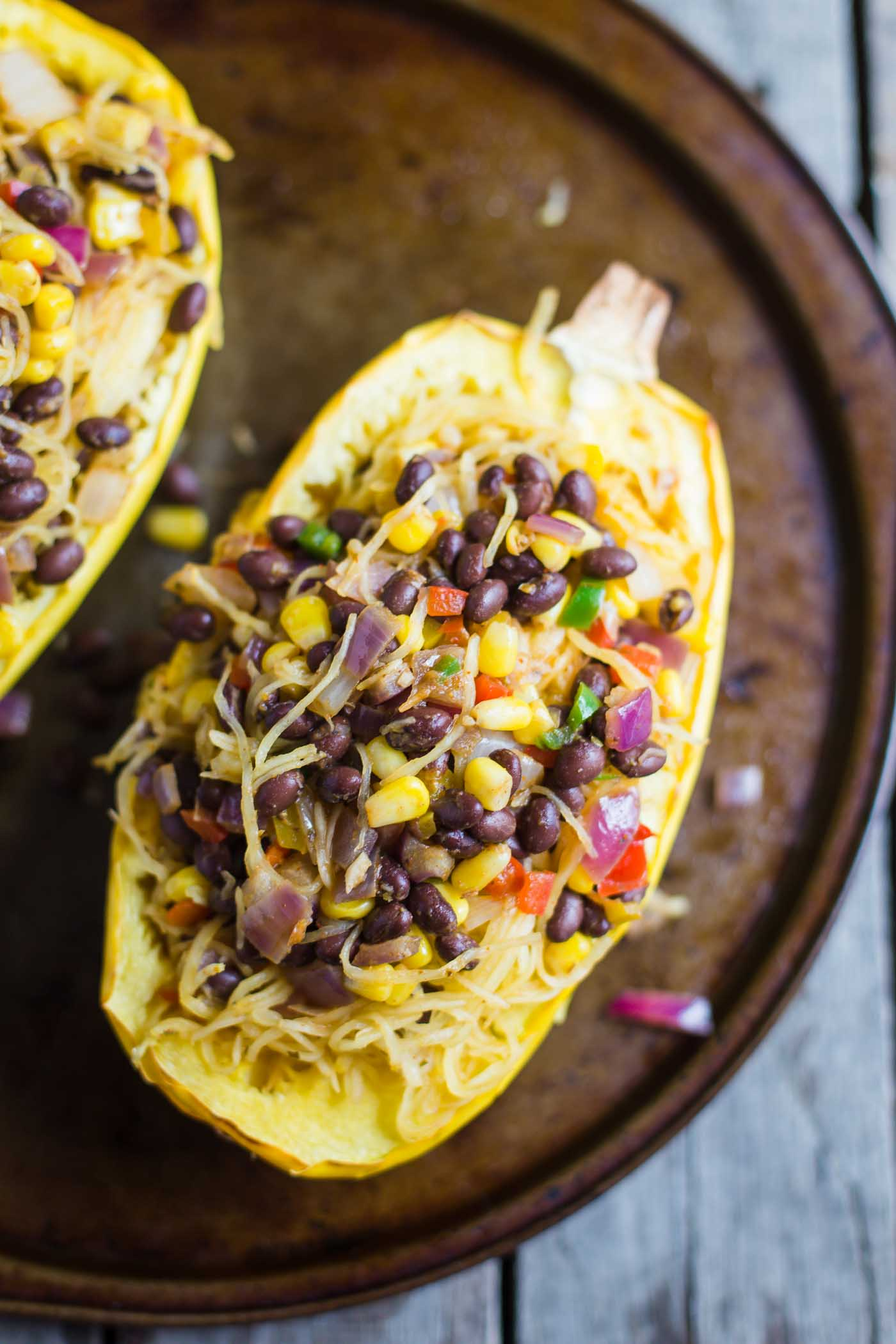 Spaghetti Squash Burrito Bowl- these burrito bowls VEGAN, easy to throw together, and SO very filling.