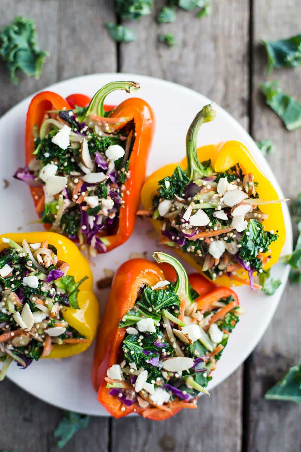 Wild Greens & Quinoa Stuffed Bell Peppers- Quick, easy, and healthy dinner!