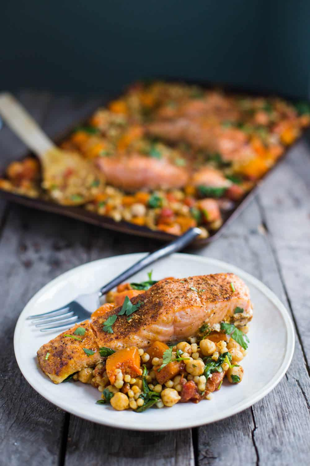One Pan Salmon and Squash with Couscous | Food with Feeling