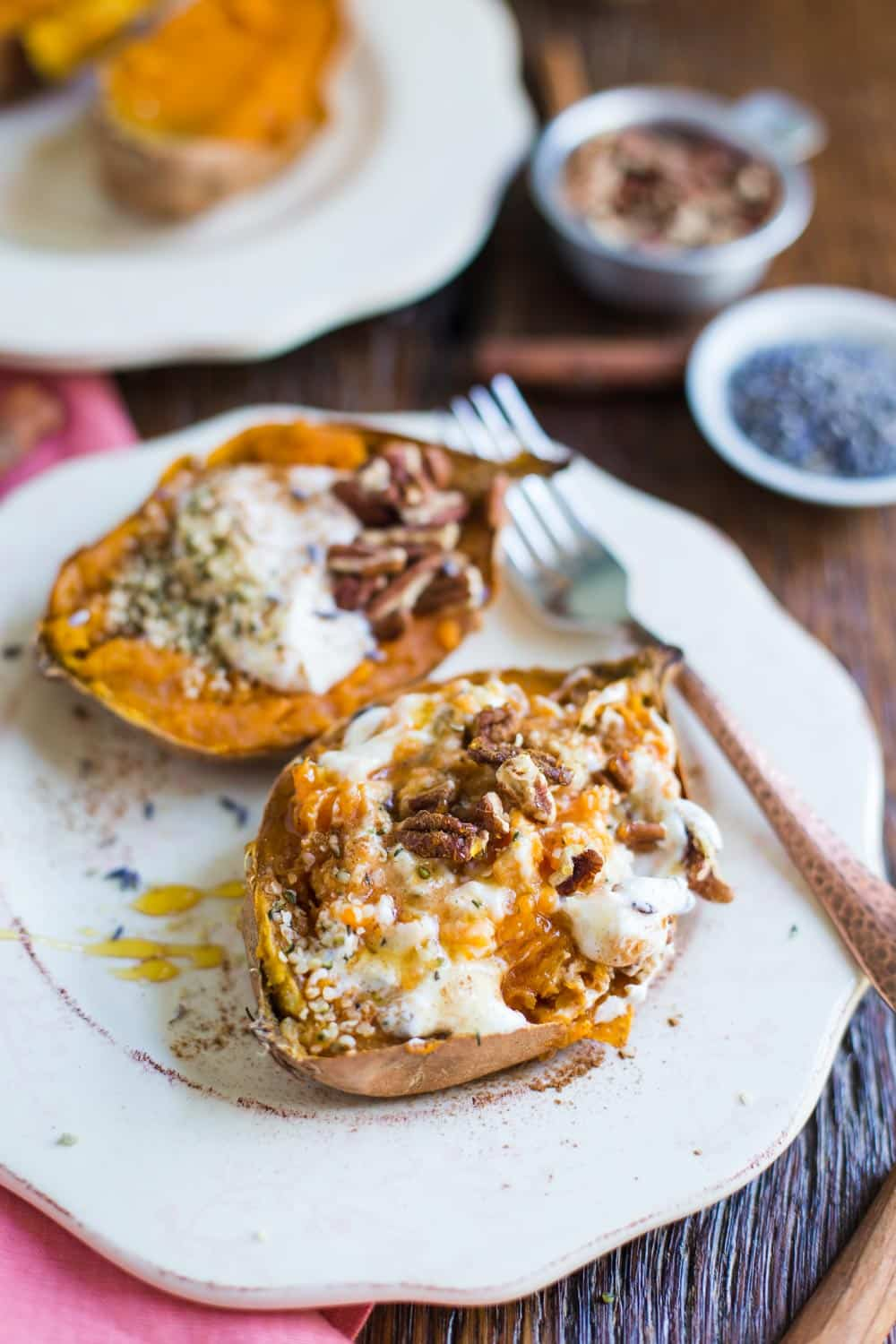 Breakfast Baked Sweet Potatoes | Food with Feeling