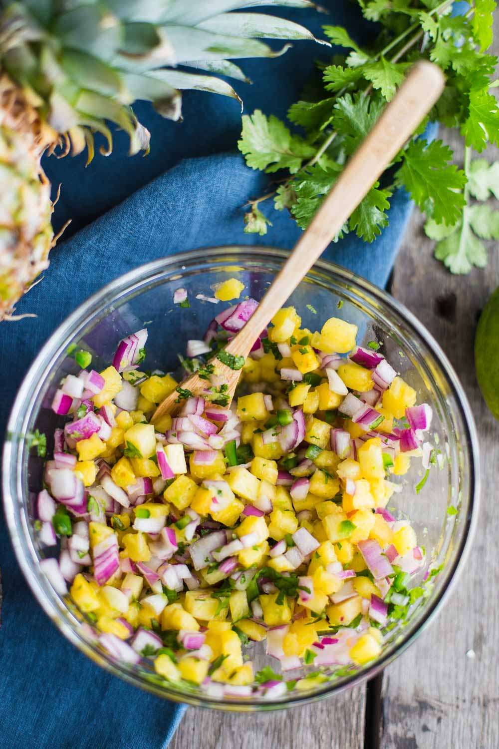 Chunky Pineapple Salsa made with fresh pineapple and a bit of tequila for a nice kick!!