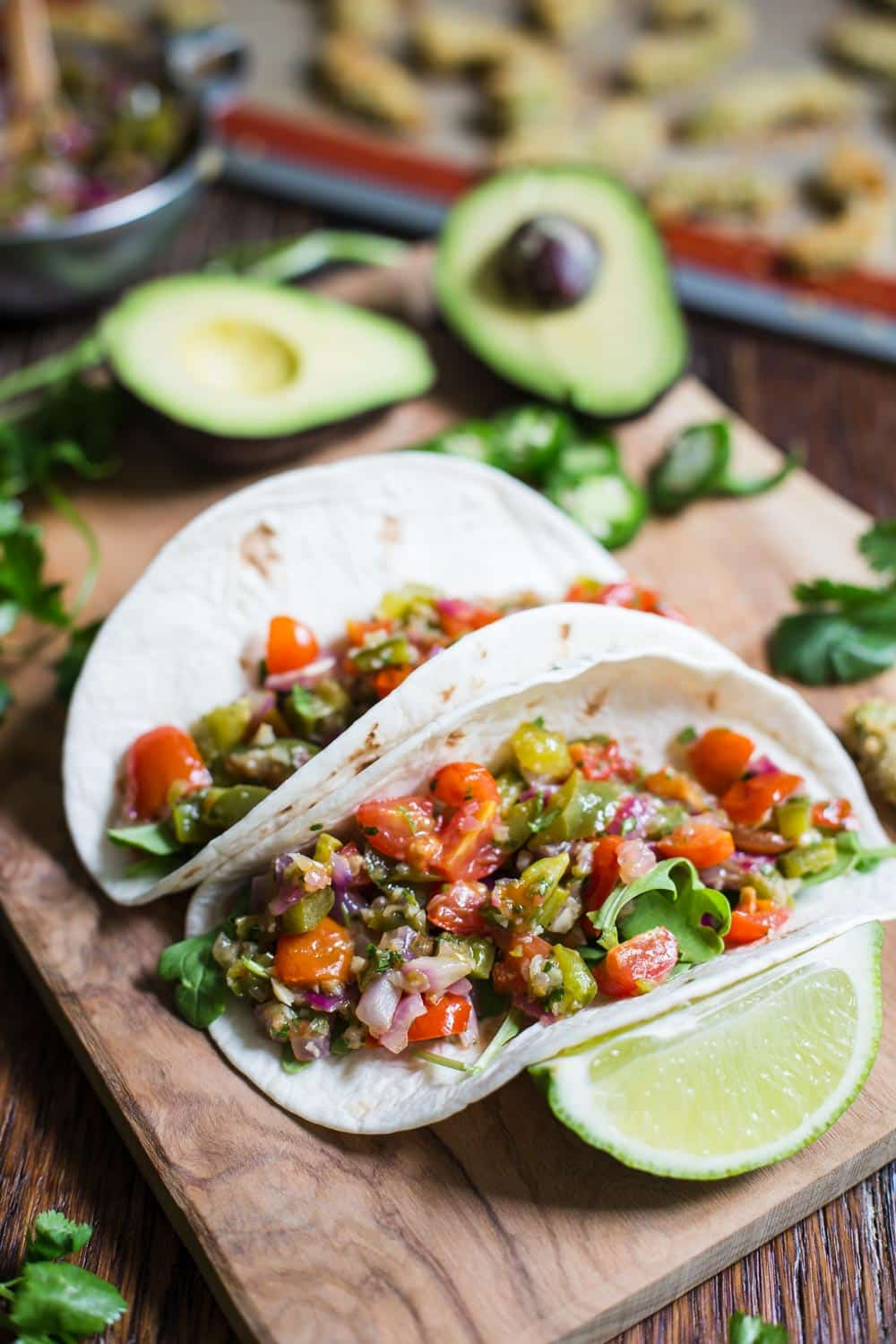 Baked Avocado Tacos w/ Roasted Veggie Salsa AND Sriracha Mayo- VEGAN and delicious!!