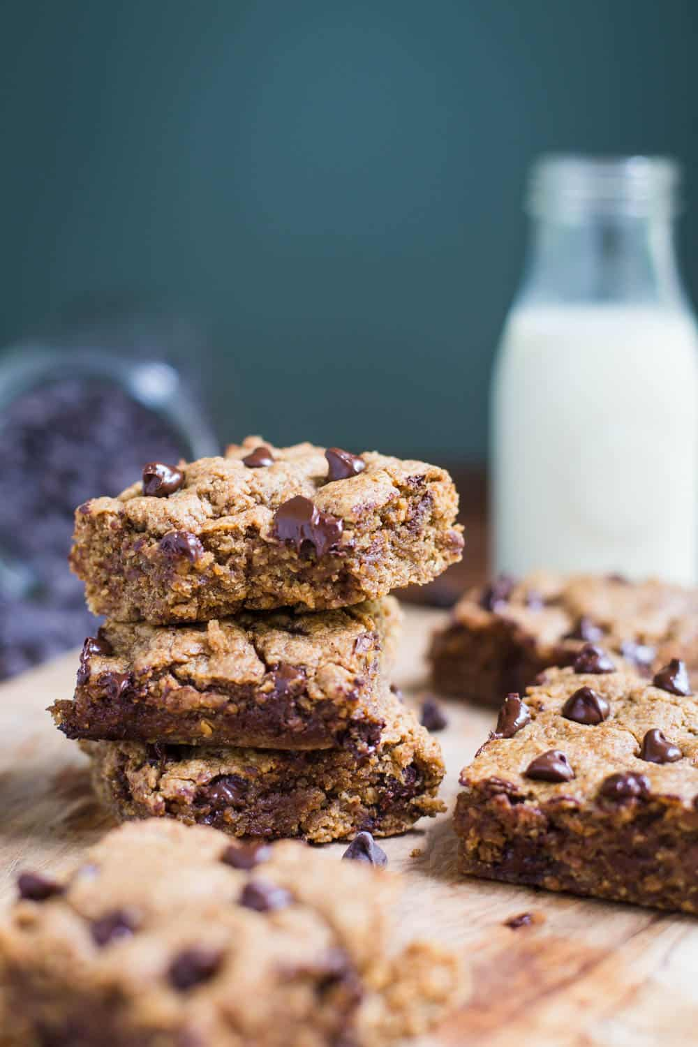 Almond Butter Chocolate Chip Cookie Bars- VEGAN dessert!!
