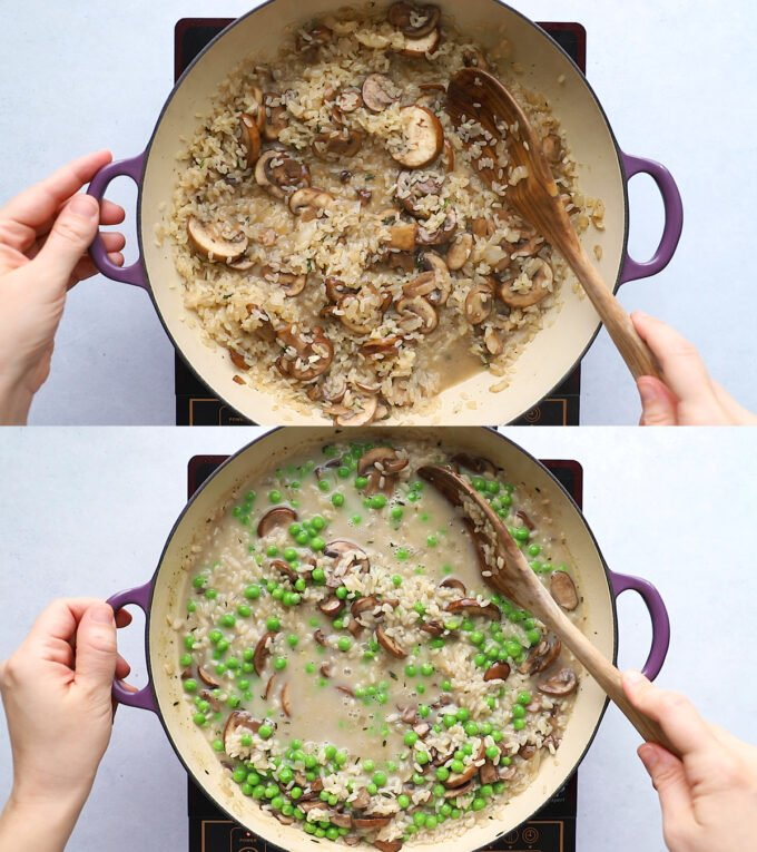 cooking vegan mushroom risotto in a large pot