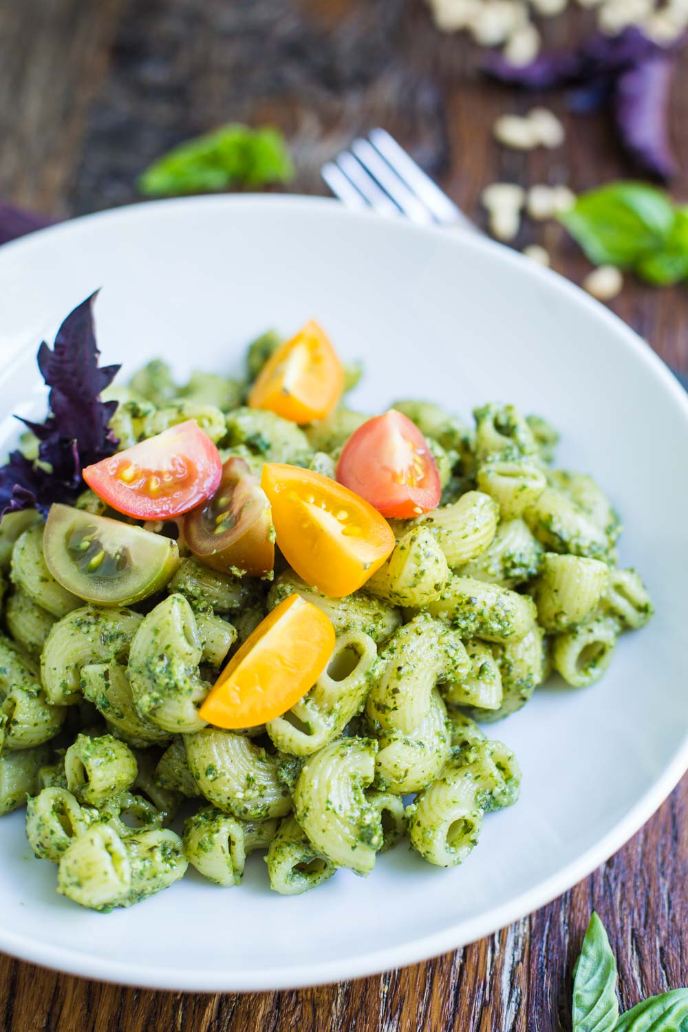 Vegan Pesto Pasta- this pasta recipe is very easy to throw together and perfect for those summer months when fresh basil is growing rapidly!