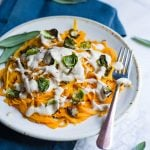 Creamy Butternut Squash Pasta with Crispy Brussels Sprouts