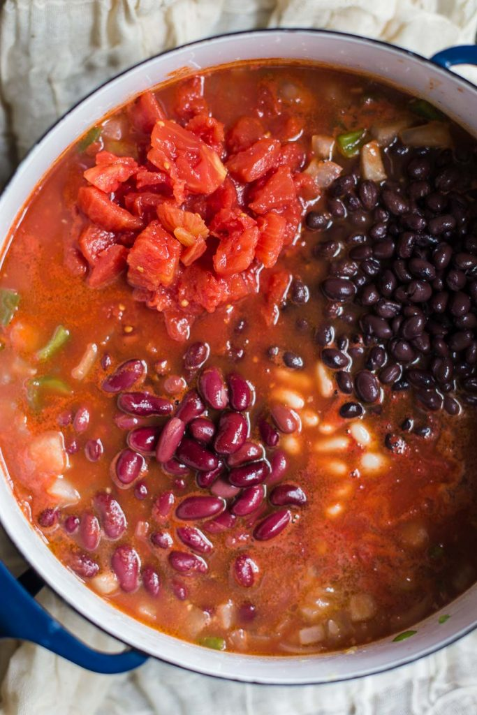 Loaded Vegan Chili- this vegetable chili has 3 different kinds of beans in it making it a very satisfying and filling chili that even meat eaters will love!