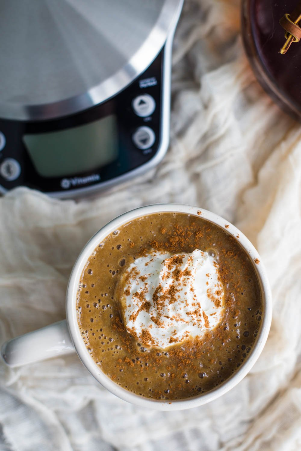 Warm pumpkin latte with the vitamix perfect blend food for Vitamix perfect blend smart scale