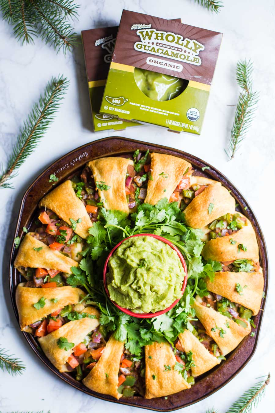 Holiday Wreath Taco Ring- this fully VEGAN holiday appetizer is easy to make, a fun party dish, and something that everyone will enjoy!