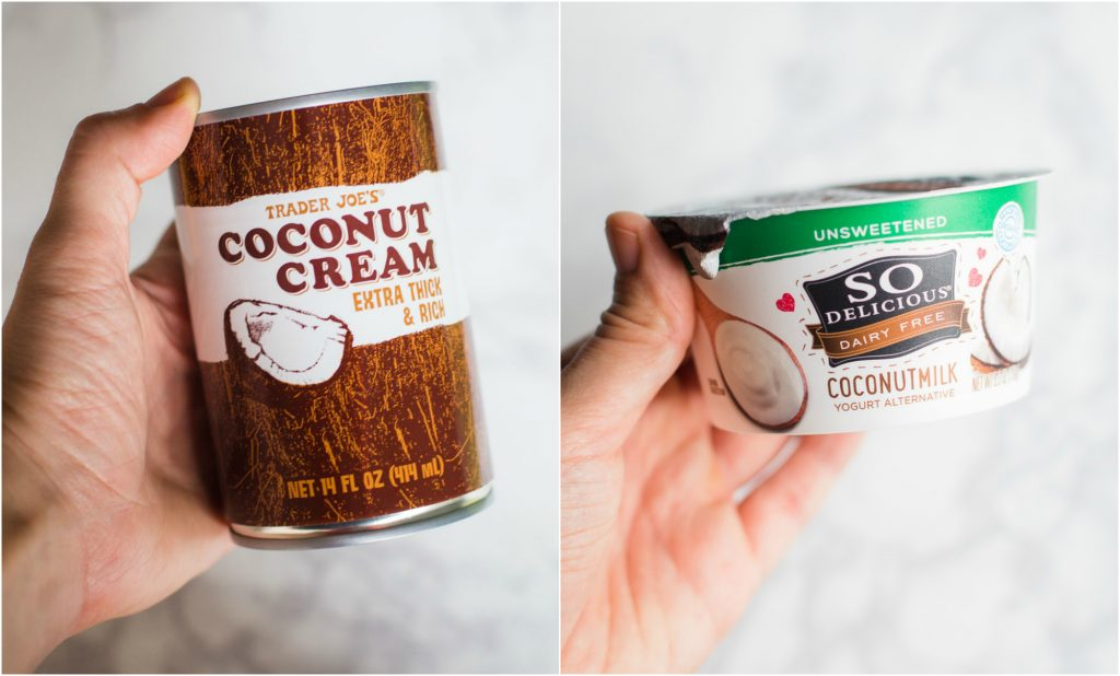 can of coconut cream and a container of coconut yogurt