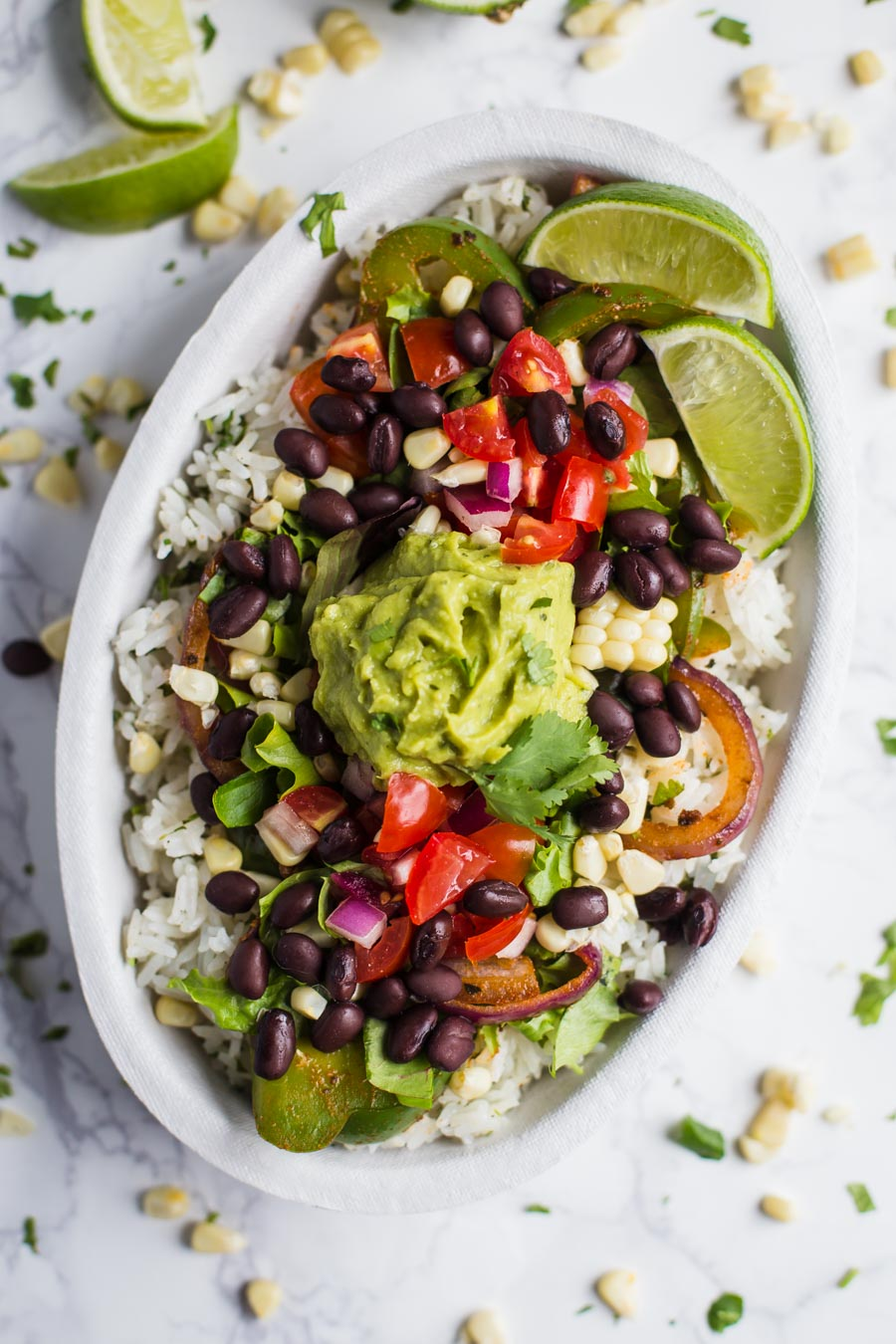 Chipotle Inspired Vegan Burrito Bowl- this homemade burrito bowl comes together in just 30 minutes and makes for great leftovers!