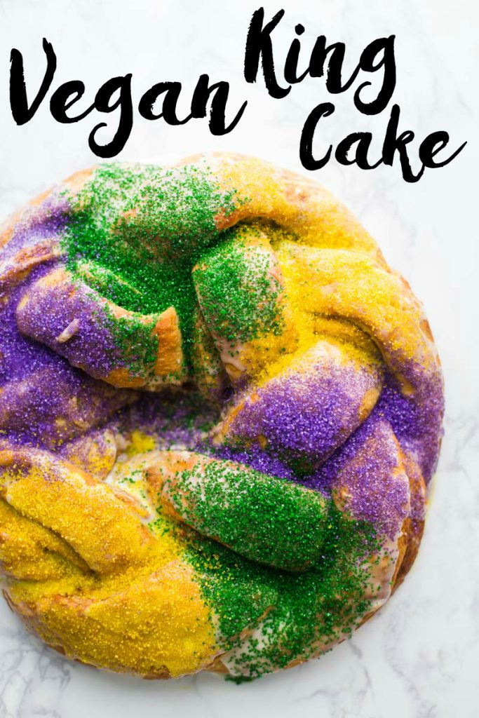 Vegan King Cake- this traditional Mardi Gras King Cake is fully vegan and very easy to make! Perfect for parties or just for fun!