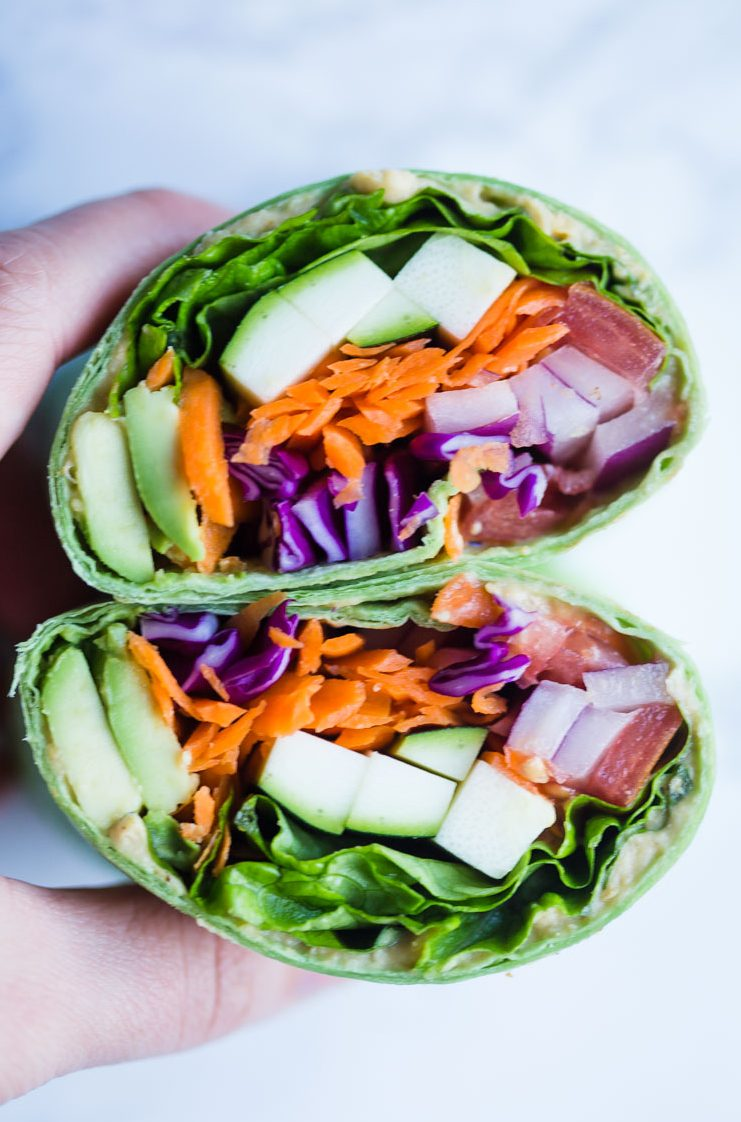 Loaded Veggie Wraps- these wraps are loaded with good for you vegetables, are completely vegan, and make for a quick and easy lunch on the go!