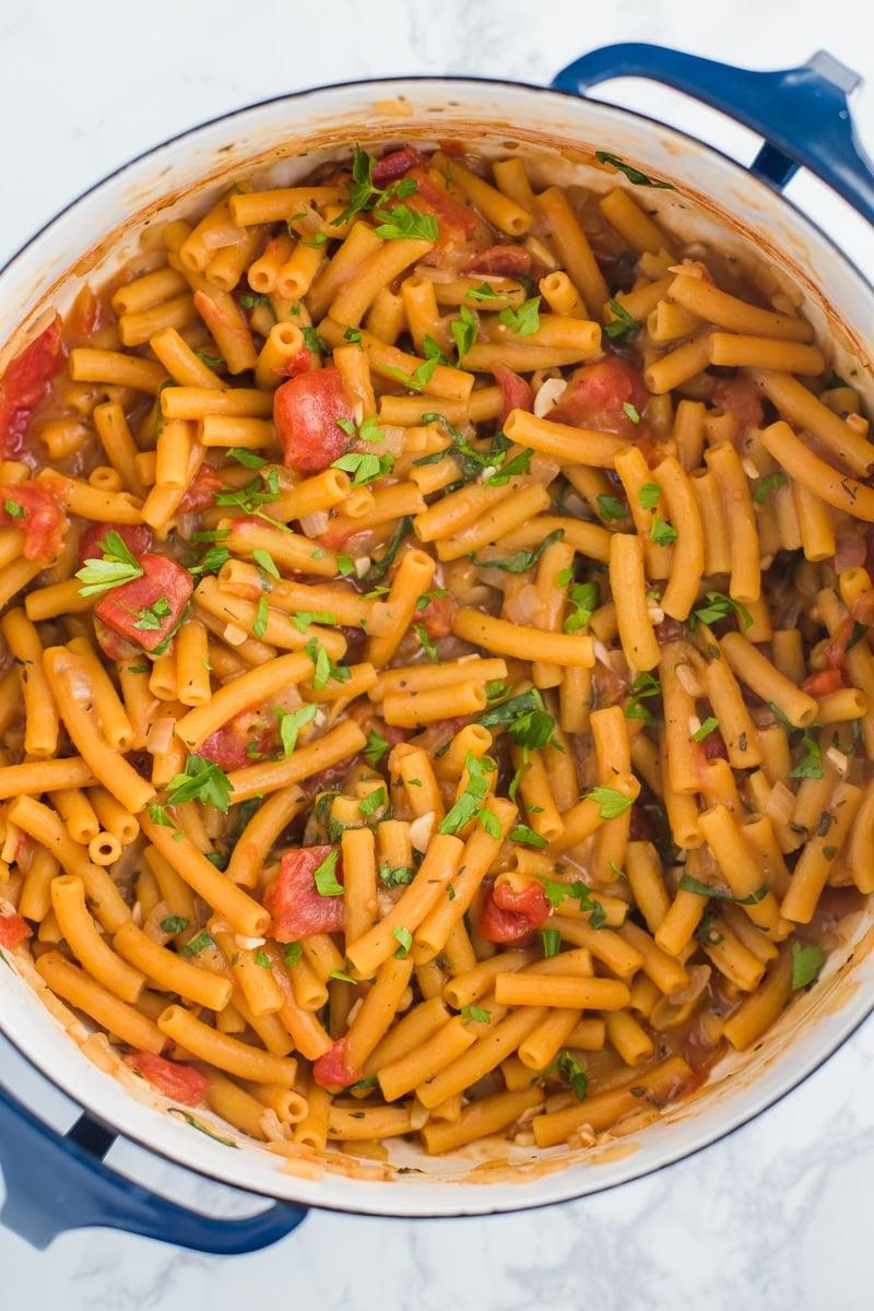 One Pot Lentil Pasta- super easy, VEGAN, and gluten free!