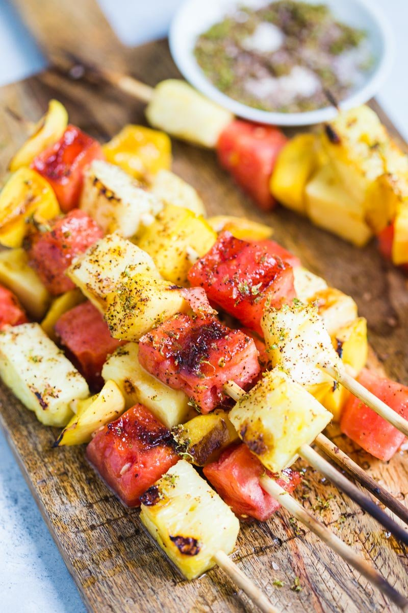 Grilled Fruit Skewers- these skewers are PERFECT for summer parties and something that everyone will enjoy since they're gluten free and vegan!
