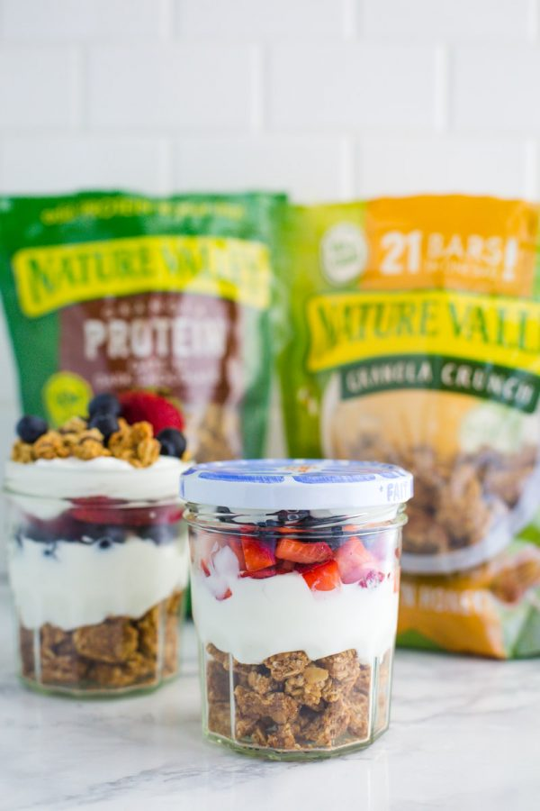 These delicious On the go Yogurt Parfaits are perfect for healthy snacking when you're in a hurry! Assemble quickly in the morning for a healthy snack later in the day.