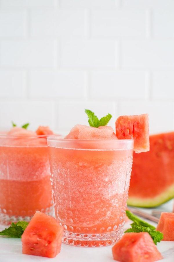 Watermelon white wine slushies