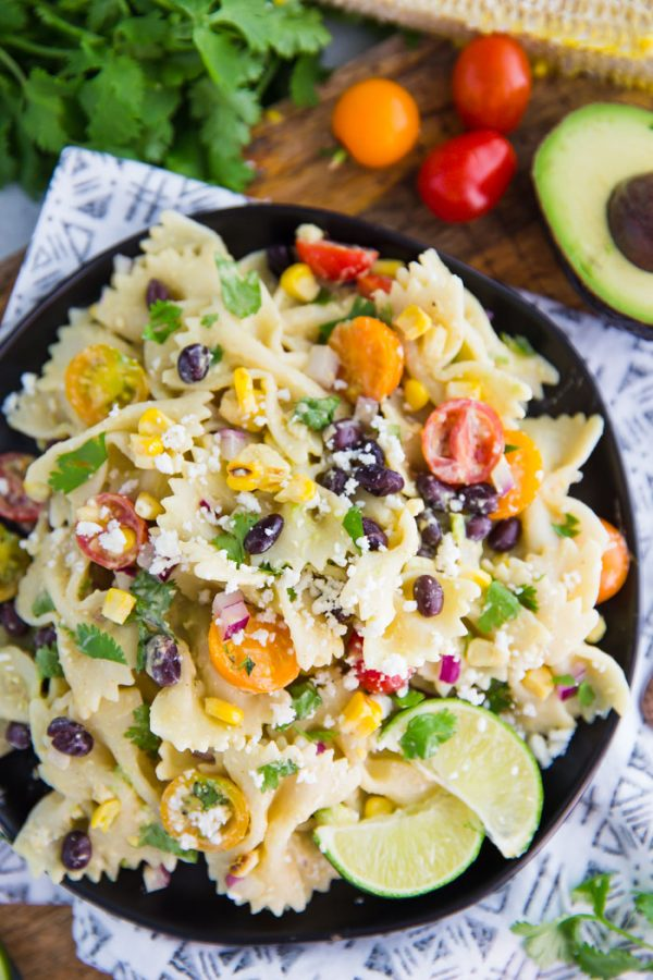 Mexican Inspired Pasta Salad- this quick and easy vegetarian pasta salad is the perfect party dish or weeknight meal with delicious leftovers!
