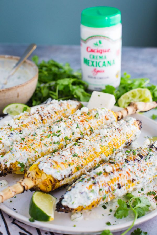 Easy Mexican Street Corn- this street corn is super easy to make on the grill and is the perfect side dish that everyone will enjoy!
