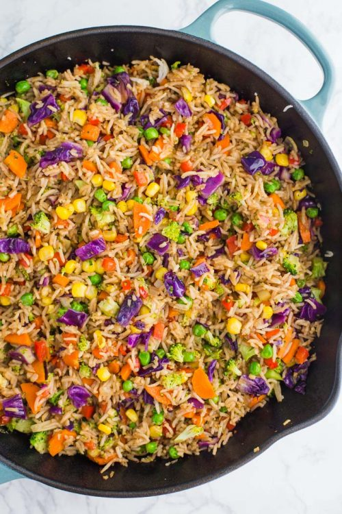 skillet filled with veggie fried rice
