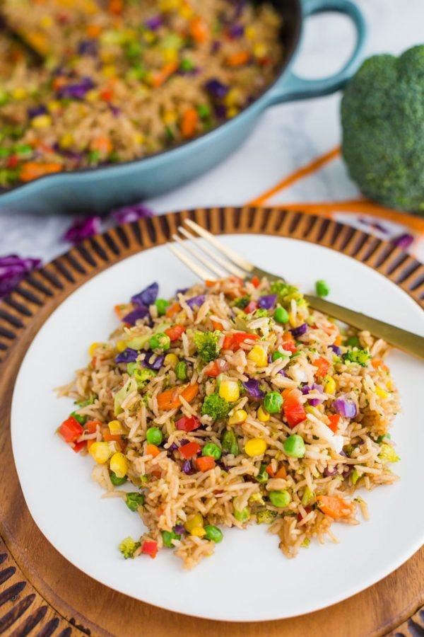 Loaded Veggie Fried Rice- a healthy alternative to your fried rice. This dish is vegetarian, vegan, and LOADED with vegetables for the perfect side dish!