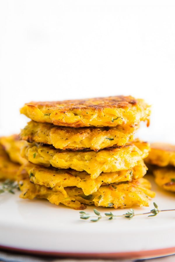 Butternut Squash Fritters- these VEGAN fritters are easy to make (just one bowl!) and are perfect as a side dish or even a main meal!