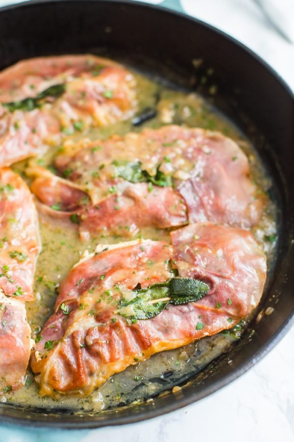 Easy Chicken Saltimbocca- this is my take on traditional saltimbocca. This chicken is covered in fresh sage and prosciutto and takes just 25 minutes to make!