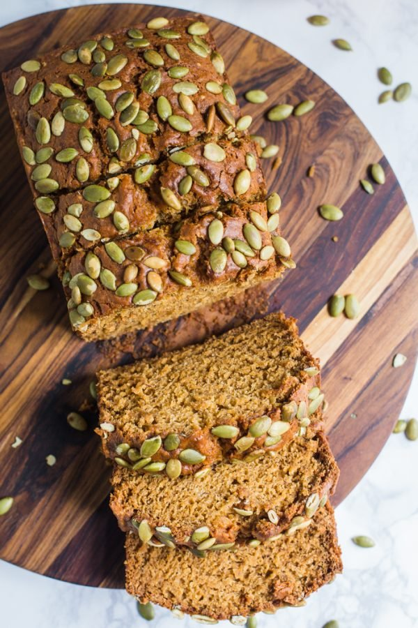 Vegan Pumpkin Bread- comes together in one big bowl and will be your new favorite fall baked good!