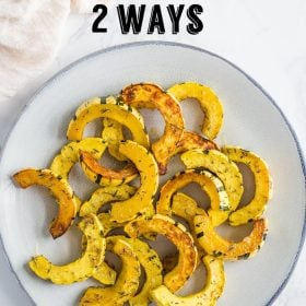 This Roasted Delicata Squash recipe shows you 2 ways to roast delicata squash! A sweet cinnamon recipe and a roasted herb recipe. The perfect side dish!