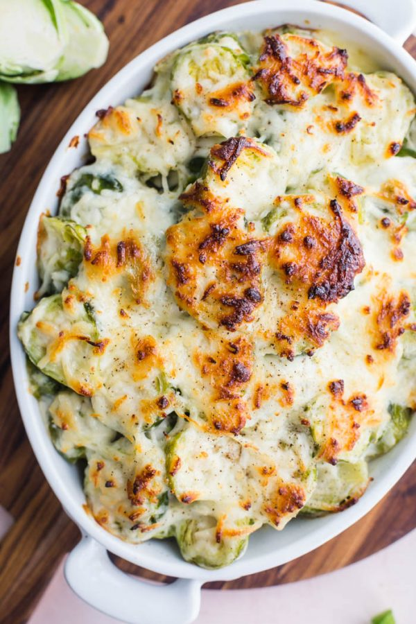 Cheesy Brussels Sprouts Gratin- this thanksgiving side dish is easy to make and something that everyone will love!