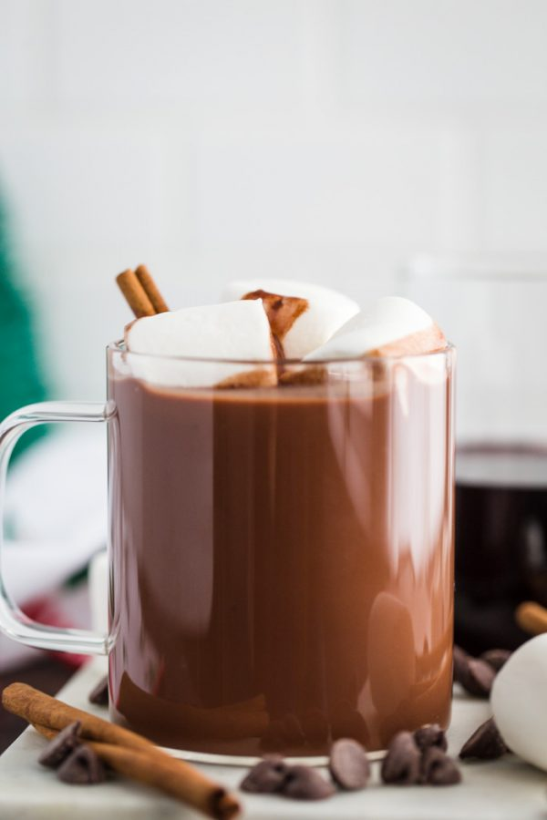 Red Wine Hot Chocolate- this boozy hot chocolate is the perfect adult beverage for winter. It's dairy free, vegan, and such a delightful combo!