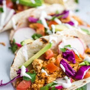 Easy Tofu Taco Meat- this vegan taco meat is made with tofu crumbles and quinoa. It's easy to throw together and SO TASTY!