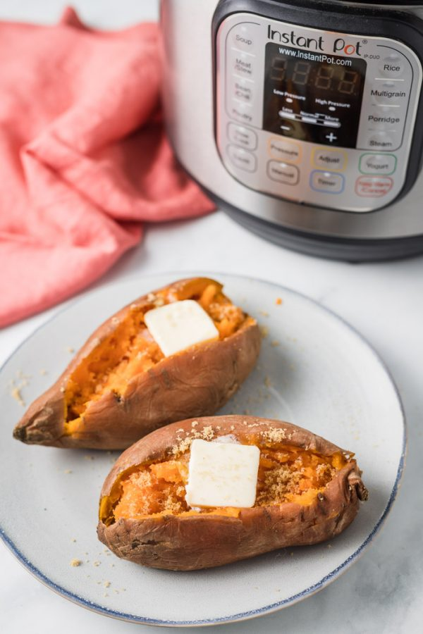 Instant Pot Sweet Potatoes- this recipe shows you how EASY it is to make perfect sweet potatoes right inside of your instant pot or pressure cooker.