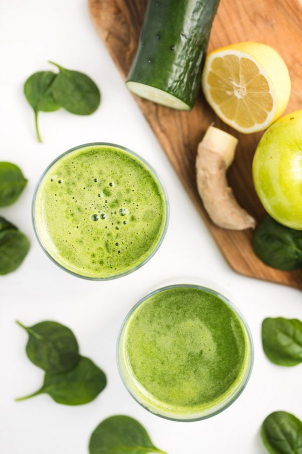 green juice on a white background
