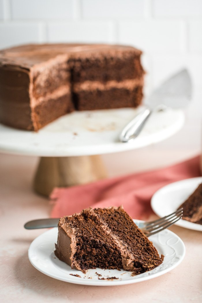 slices of chocolate cake on a white plate