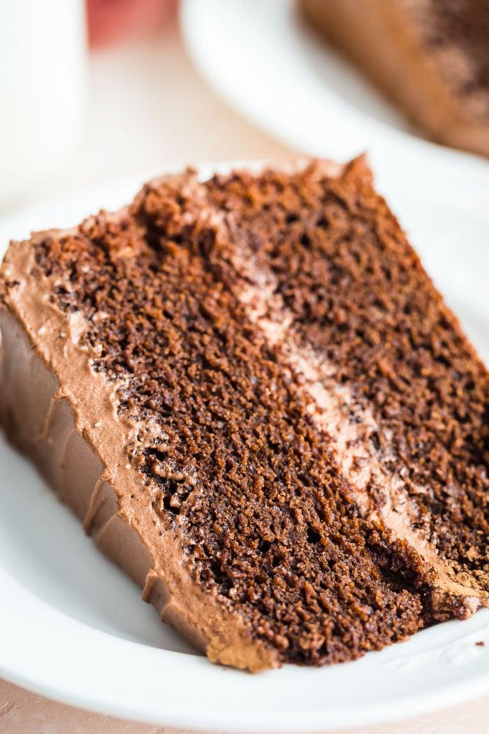 chocolate cake on a white plate
